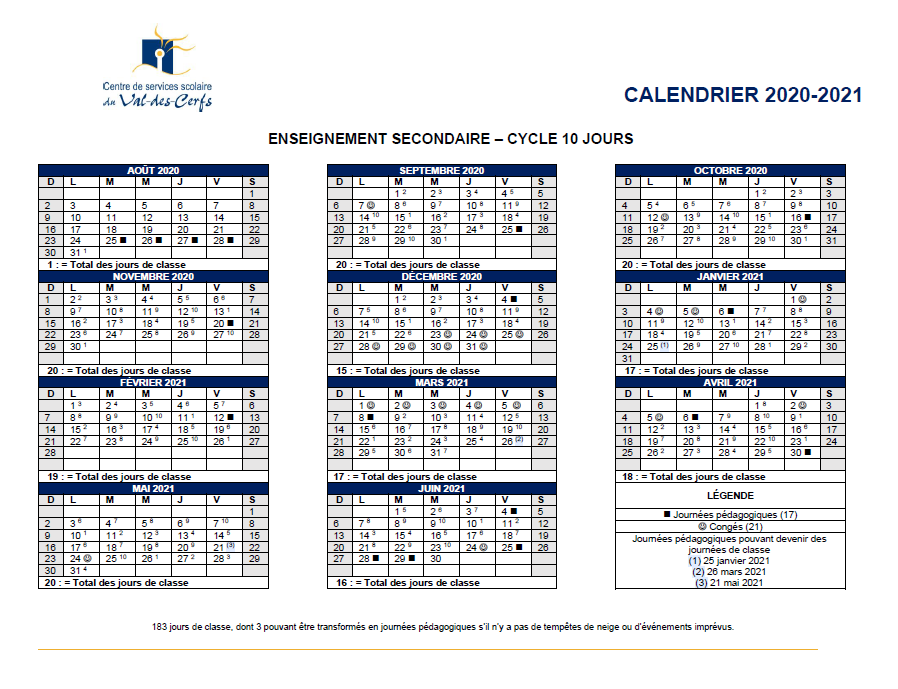 Calendrier 2021 2022 Cycle 2 Calendrier | École Wilfrid Léger